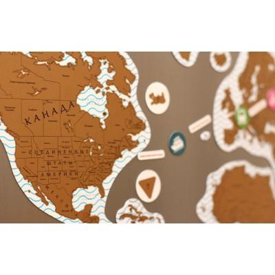 Магнитная стирающаяся карта мира на холодильник для отметок путешествий