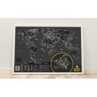 Чёрная скретч карта «True Map PLUS NOIR»